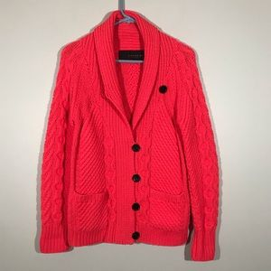 Coach Cable Knit Button Up Sweater XS
